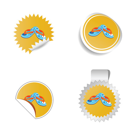 sticker vector: flip flop color sticker vector Illustration