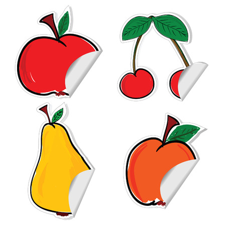 dewberry: fruit sticker vector illustration on white background Illustration