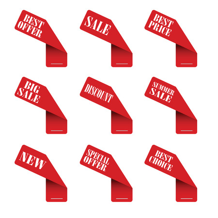 sticker best offer red vector Vector