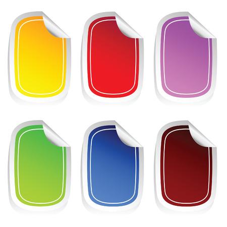 peeling corner: sticker in six color set three vector on white Illustration
