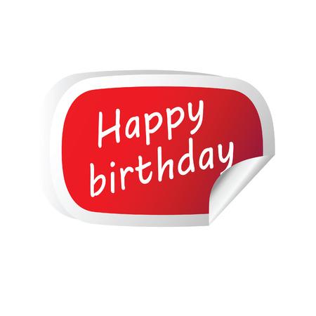 peeling corner: sticker red with happy birthday message vector