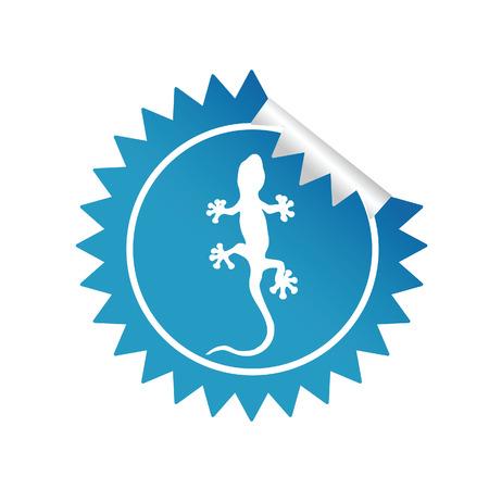 salamandre: autocollant salamandre vecteur illustration bleue