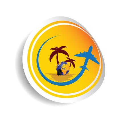suntan cream: sticker travel with airplane color vector illustration Illustration
