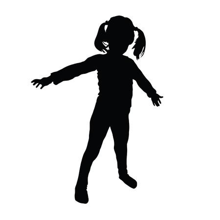 kids vector art silhouette Vettoriali
