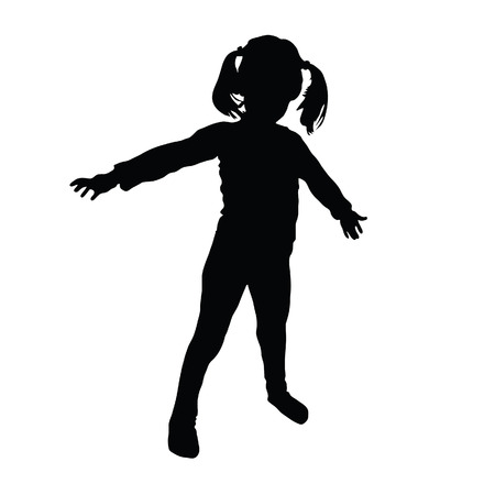 silueta niño: niños art silueta Vectores