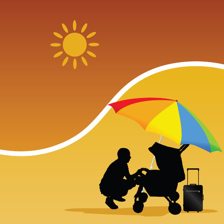 man and baby on the beach color vector Vector