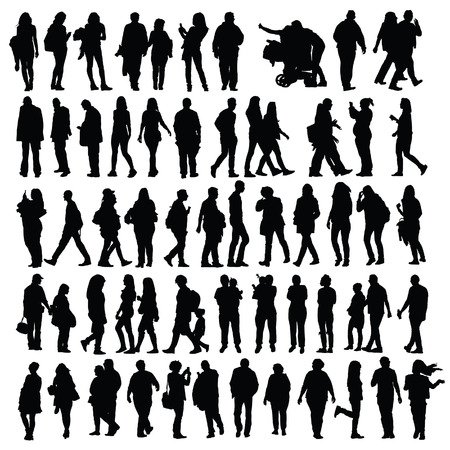 listeners: people set vector black silhouette Illustration