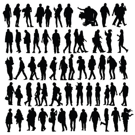 people set vector black silhouette Ilustração