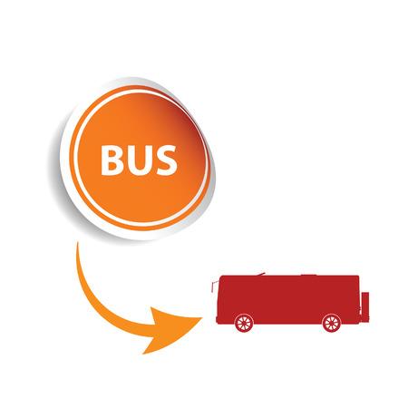 motor coach: sticker bus orange art vector Illustration
