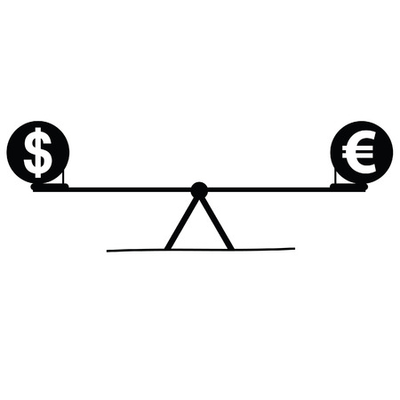 teeter: teeter with euro and dollar black vector