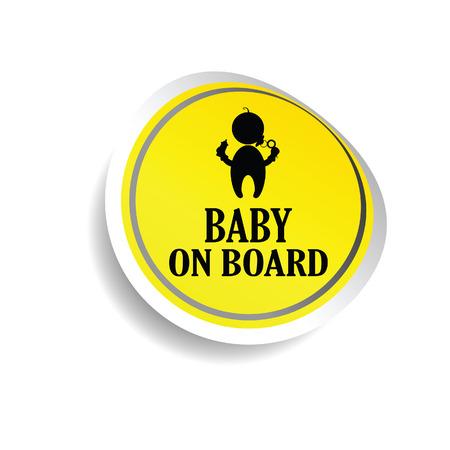 yellow  art: pegatina del beb� en la tarjeta amarilla de arte vectorial