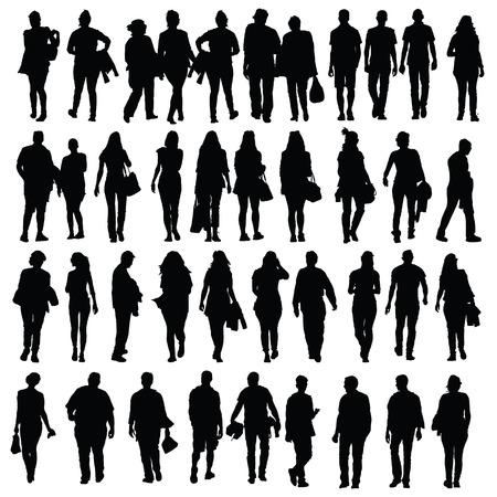 séta: emberek séta sziluett vektor fehér alapon fekete