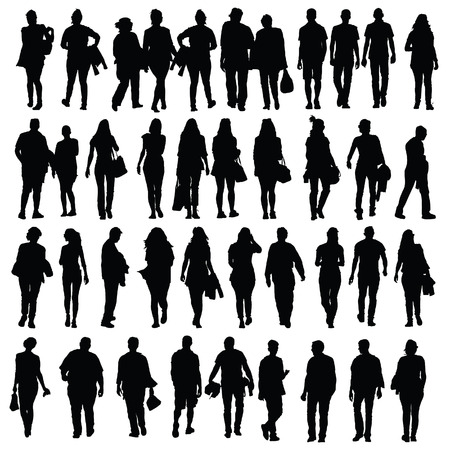 female pose: people walking silhouette vector black on white Illustration