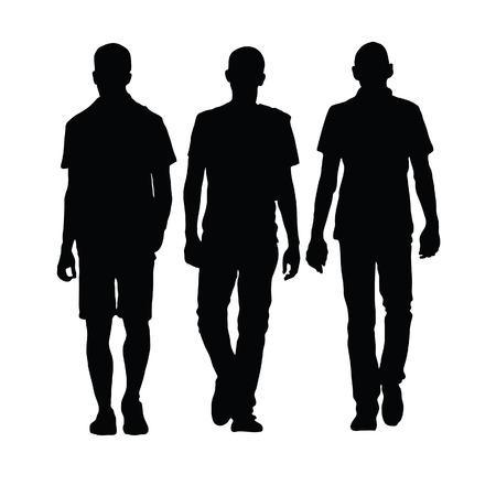 Homme marchant trois silhouette noire sur blanc Banque d'images - 41044090