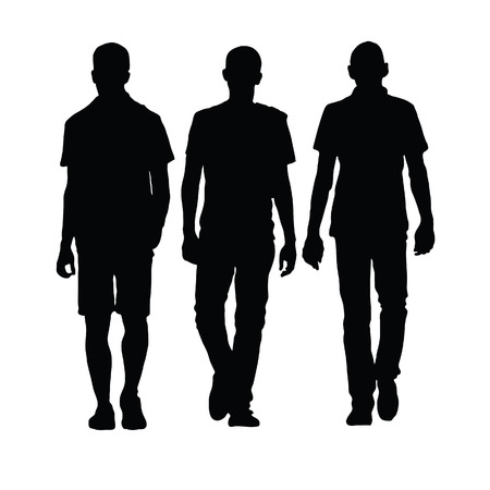 man lopen drie zwarte silhouet op wit Stock Illustratie