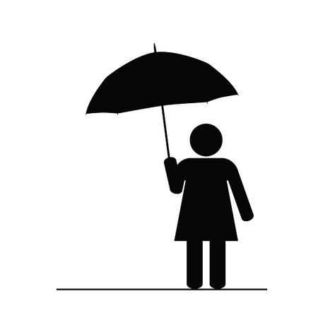 sexy umbrella: girl with umbrella black art vector Illustration