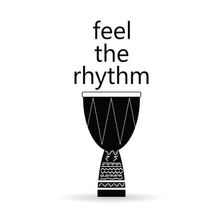 djembe: feel the rhythm drum vector art illustration