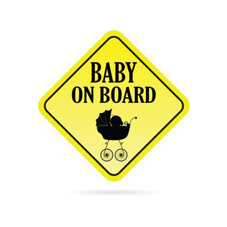 yellow vector: baby on board warning yellow vector