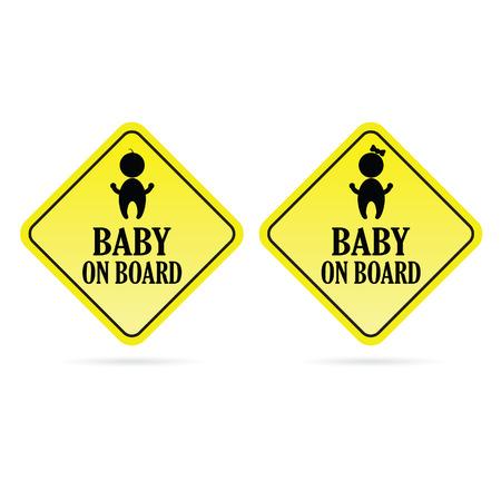 bebe a bordo: bebé a bordo de los niños vector amarillo