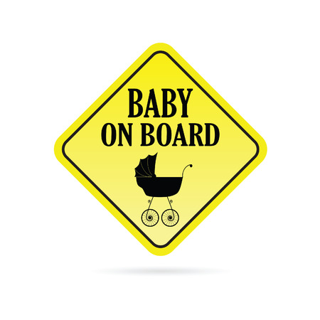 baby on board: baby on board carriage yellow vector