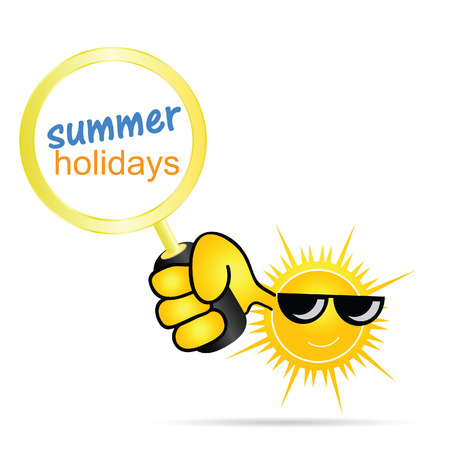 sun with holidays summer color vector Vector