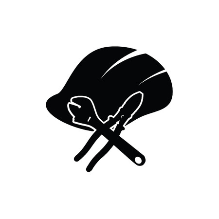 temporary workers: construction tin hat with tools black vector illustration Illustration