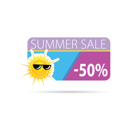 sun with summer sale color vector Vector