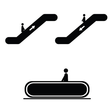 escalate: escalator with people black vector