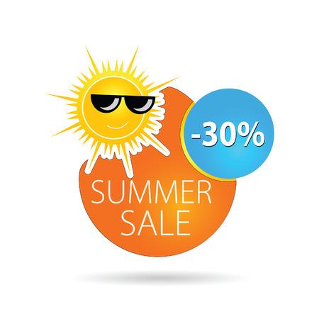 summer sale sun happy color vector illutration Vector