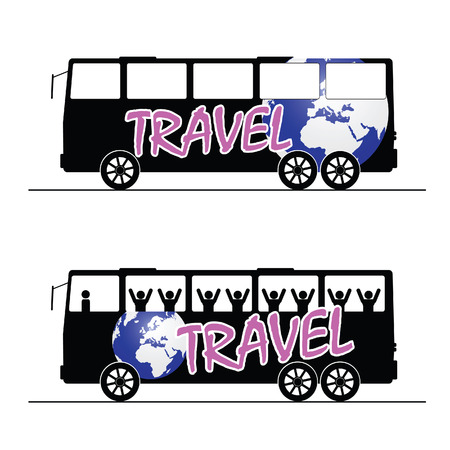 motor coach: bus travel happy color art vector
