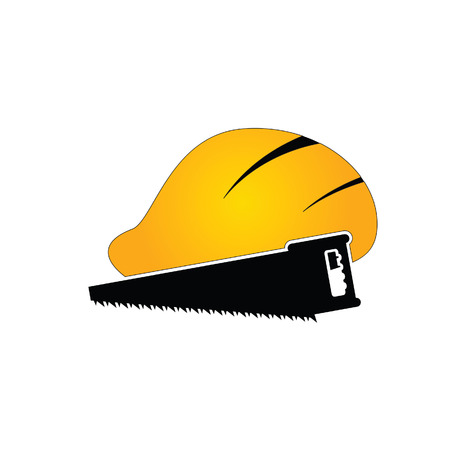 temporary workers: construction tin hat with saw vector illustration