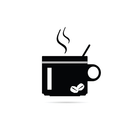 cheerfulness: coffee cup vector black silhouette Illustration