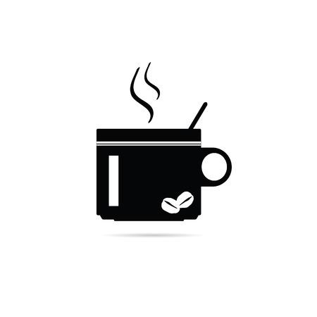 joyfulness: coffee cup vector black silhouette Illustration