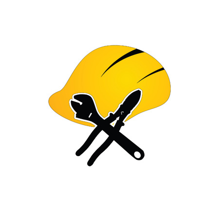temporary workers: construction tin hat with tools color vector