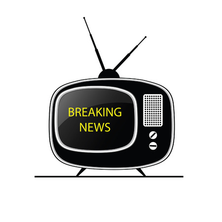 breaking news: breaking news tv black vector Illustration