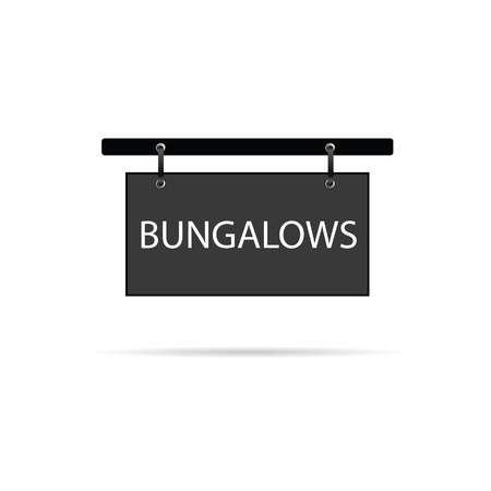 bungalows: bungalows signboard vector illustration Illustration