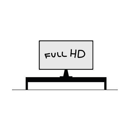 hd tv: hd tv black vector on a white background Illustration