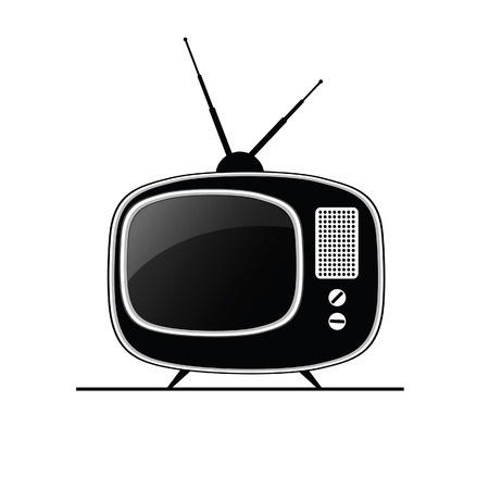 outmoded: tv antique black art vector
