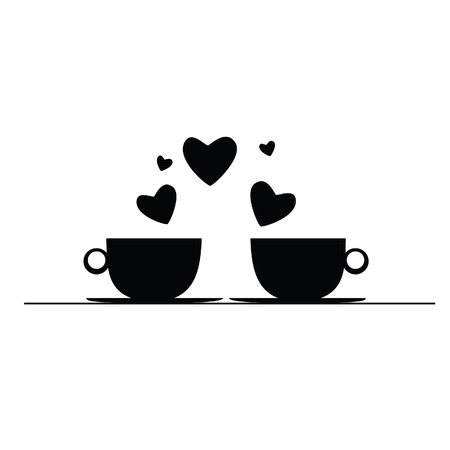 joyfulness: coffee with hearts black vector art silhouette