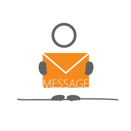 outage: man with letter envelope color art Illustration