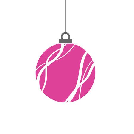 Kerst bal roze in clorful Stock Illustratie