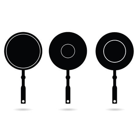 browning: pan set black vector silhouette illustration
