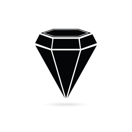 diamond jewel black vector silhouette Illustration