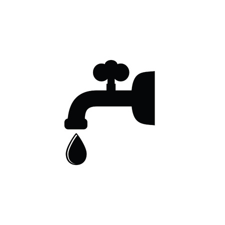 Fountain Black Vector Silhouette With Drop Water