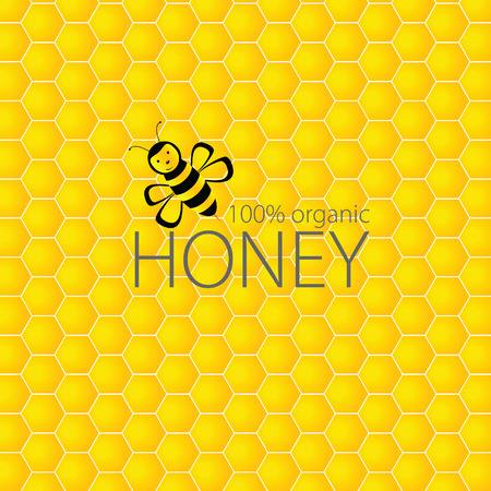 bee and honey vector on yellow illustration