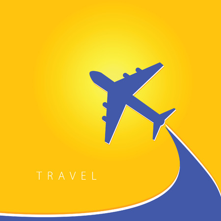 airplane travel: airplane with travel color vector illustration
