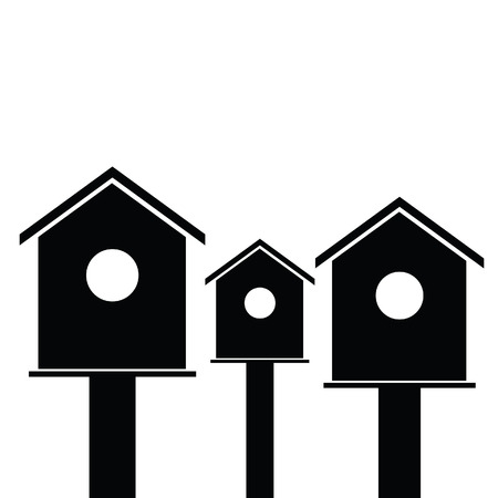 starling: birdhouses wooden set black vector silhouette