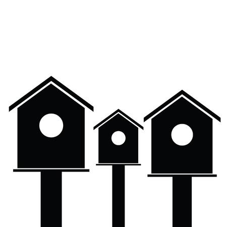 starling: birdhouses wooden set black vector silhouette