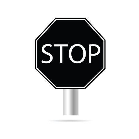 signal pole: stop signboard vector in black color Illustration