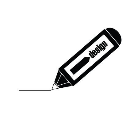 autographing: design pencil black vector illustration